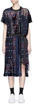 Sacai Bandana print velvet panel belted dress