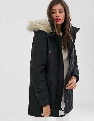 Vero Moda faux fur hooded parka-Black