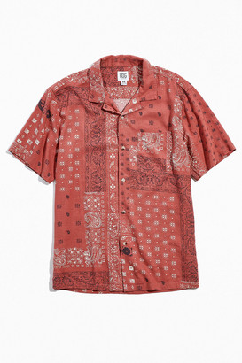 BDG Bandana Print Linen Short Sleeve Button-Down Shirt