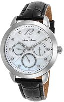 Lucien Piccard Women's 'Rivage' Quartz Stainless Steel and Leather Casual Watch, Color:Black (Model: LP-40038-02MOP)