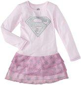 DC Comics 3 Tier Supergirl Nightgown (Toddler/Kid) - Pink-2T