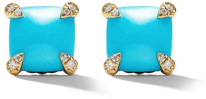 David Yurman 18kt yellow gold Châtelaine turquoise and diamond stud earrings