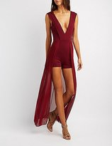 Charlotte Russe Plunging V-Neck Layered Maxi Romper