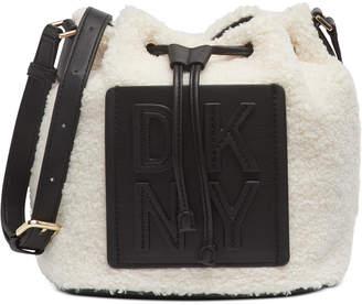 DKNY Tilly Stacked Logo Sherpa Drawstring Bucket Bag