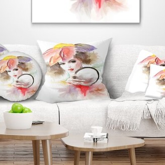 """East Urban Home Abstract Woman with Mirror Pillow Size: 16"""" x 16"""", Product Type: Throw Pillow"""