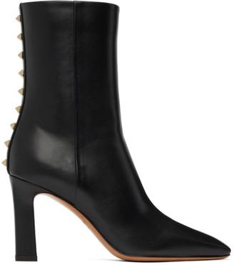 Valentino Black Garavani Rockstud Heeled Ankle Boots