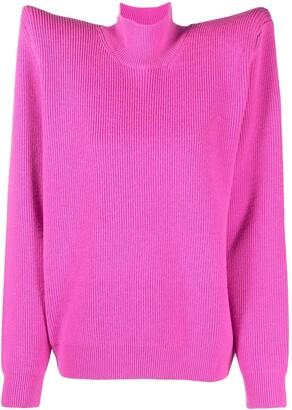 Balenciaga Long-Sleeve Wide Shoulder Jumper