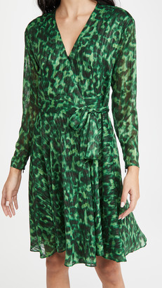 Marchesa Notte Printed Long Sleeve Dress