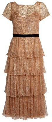 Marchesa Glitter Layered Dress