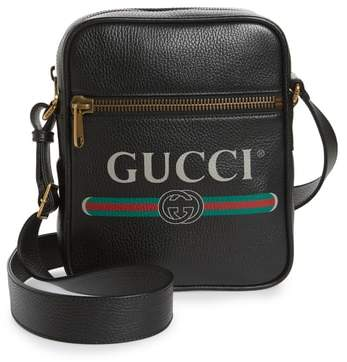 Gucci Logo Leather Messenger Bag