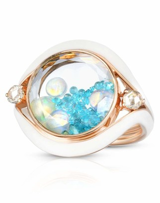 Moritz Glik Tourmaline Opal and Diamond Shaker Evil Eye Ring