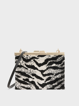 Charles & Keith Velvet White Tiger Print Square Clutch