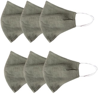 Rumour London Pack Of 6 Linen Protective Cloth Mask In Green