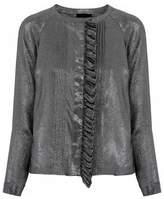 Belstaff Pintucked Ruffled Silk-Blend Twill-Lamé Blouse
