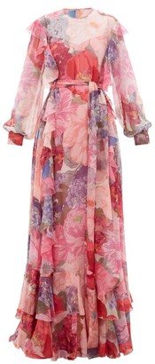 Valentino Floral-print Ruffled Belted Chiffon Gown - Womens - Multi