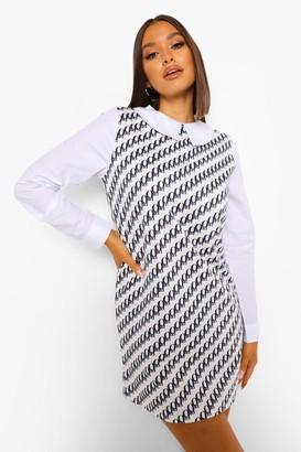 boohoo Printed Contrast Collar Shift Dress