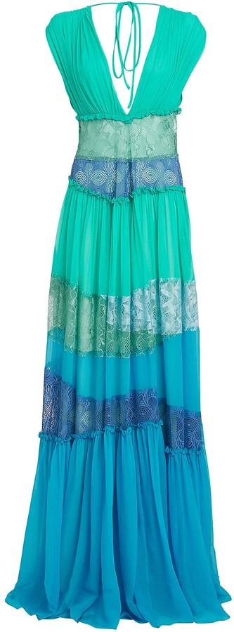 Alberta Ferretti Lace-Trimmed Silk Chiffon Gown