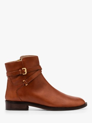 Boden Aldeburgh Leather Wrap Around Strap Ankle Boots, Dark Tan