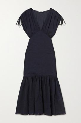 Marysia Swim Monterey Gathered Cotton-seersucker Midi Dress - Indigo