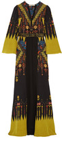 Etro Belted Printed Silk Crepe De Chine Maxi Dress - Black