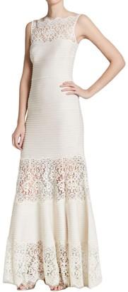 Tadashi Shoji Women's Tucked & Lace Detail Gown
