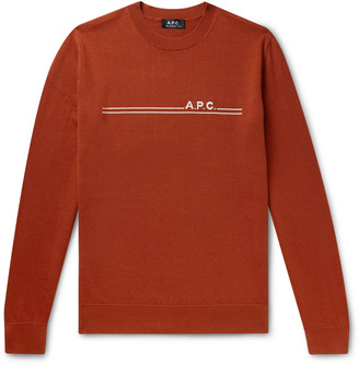 A.P.C. Logo-Intarsia Cotton and Cashmere-Blend Sweater - Men - Orange