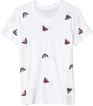 Lucky Brand All Over Butterfly Tee (Cornflower) Women's Clothing