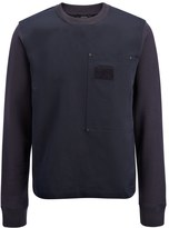 Linen Cotton + Sweatshirt Top In Navy
