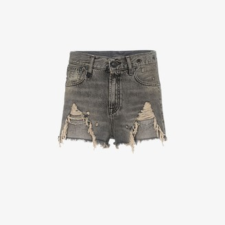 R 13 Niles Shredded Slouch Denim Shorts