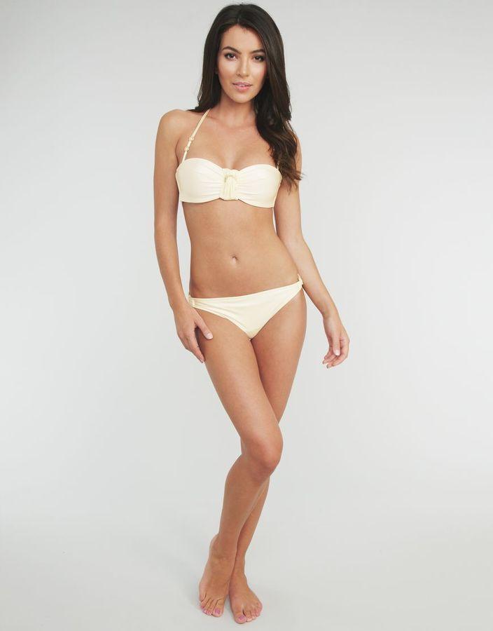 LaBelle Neri Bridal Laurent Pleated Diamonte Bandeau Bikini Top