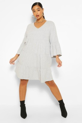boohoo Plus Tiered Jersey Ruffle Smock Dress
