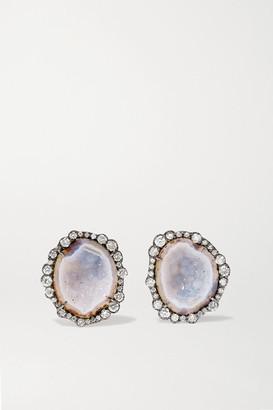 Kimberly 18-karat Blackened White Gold, Geode And Diamond Earrings - one size