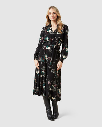 French Connection Winter Floral Midi Dress
