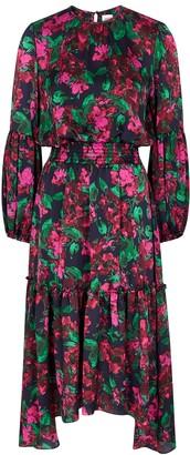 MISA Simone Floral-print Satin Midi Dress