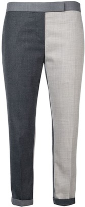 Thom Browne Contrast-Panel Cropped Trousers