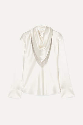 Alexander Wang Chain-embellished Silk-satin Blouse - Ivory