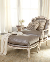 """Old Hickory Tannery Silver"""" Leather Chair & Ottoman"""