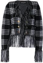 Balmain fringe trim jacket - women - Polyamide/Viscose/Mohair/Wool - 36