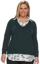 Croft & Barrow Women's Mock-Layer Sweater