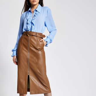 River Island Womens Brown faux leather zip front midi skirt