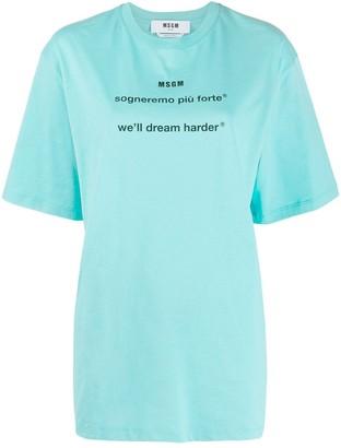 MSGM slogan-print cotton T-shirt