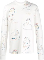 Printed Faces Sweater