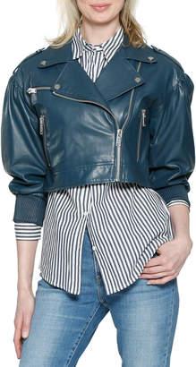 Kai Cropped Leather Moto Jacket