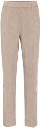Ganni High-rise straight melange pants