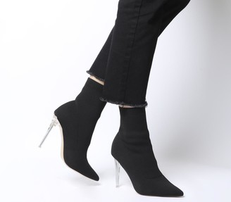 Office Almighty Fine Point Sock Boots Black With Clear Heel
