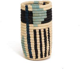 All Across Africa Geo Blue Night Raffia Vase