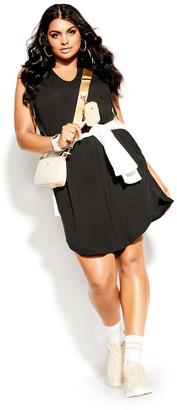 City Chic V Hoodie Dress - black
