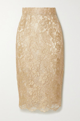 Dolce & Gabbana Metallic Lace Midi Skirt - Gold