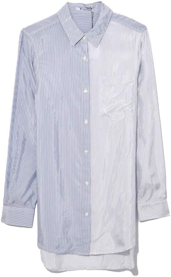 Alexander Wang Shiny Striped Shirting Button Down in Ivory Cloud/Grey Stripe
