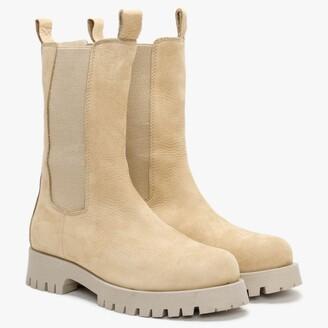 Daniel Izette Beige Tumbled Leather Tall Chelsea Boots
